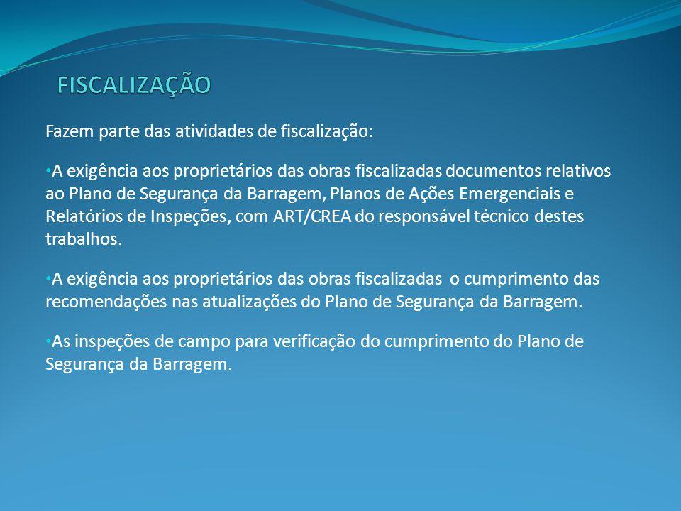 FISCALIZAÇÃO Fazem parte das atividades de fiscalização: