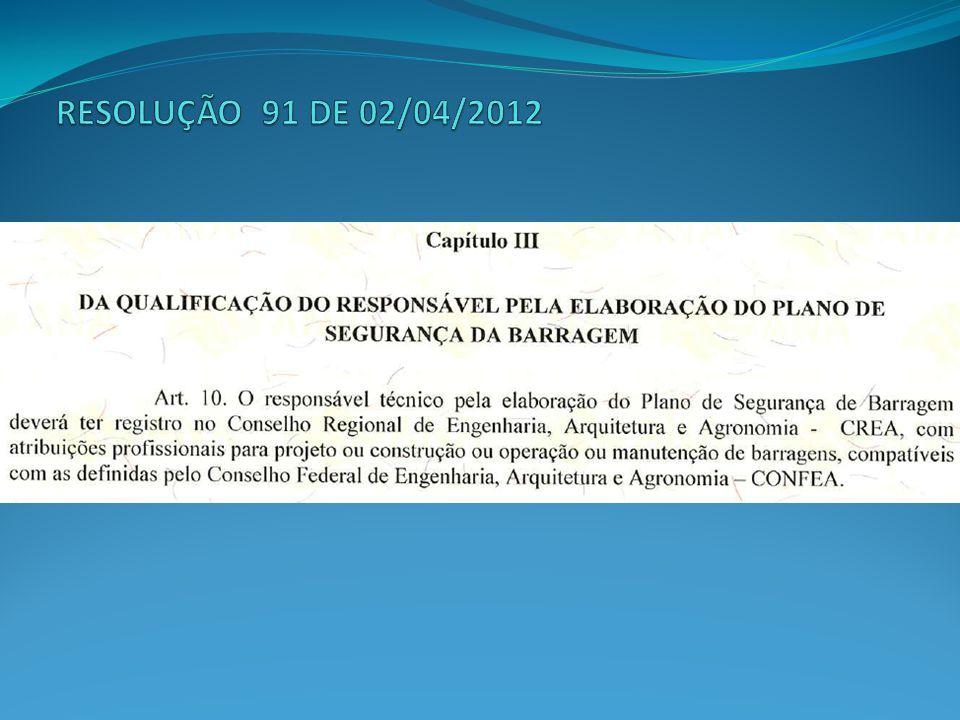 RESOLUÇÃO 91 DE 02/04/2012