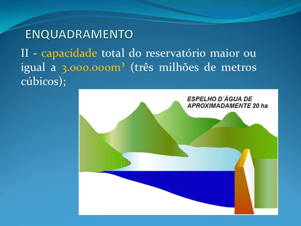 ENQUADRAMENTO II - capacidade total do reservatório maior ou igual a 3.000.000m³ (três milhões de metros cúbicos);