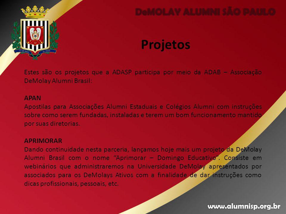 Projetos Estes são os projetos que a ADASP participa por meio da ADAB – Associação DeMolay Alumni Brasil: