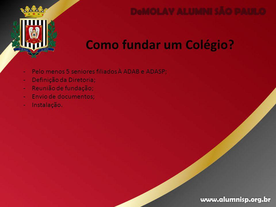 Como fundar um Colégio Pelo menos 5 seniores filiados À ADAB e ADASP;