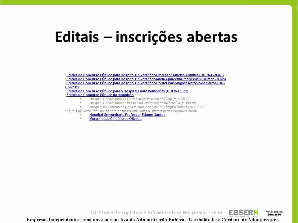 Editais – inscrições abertas