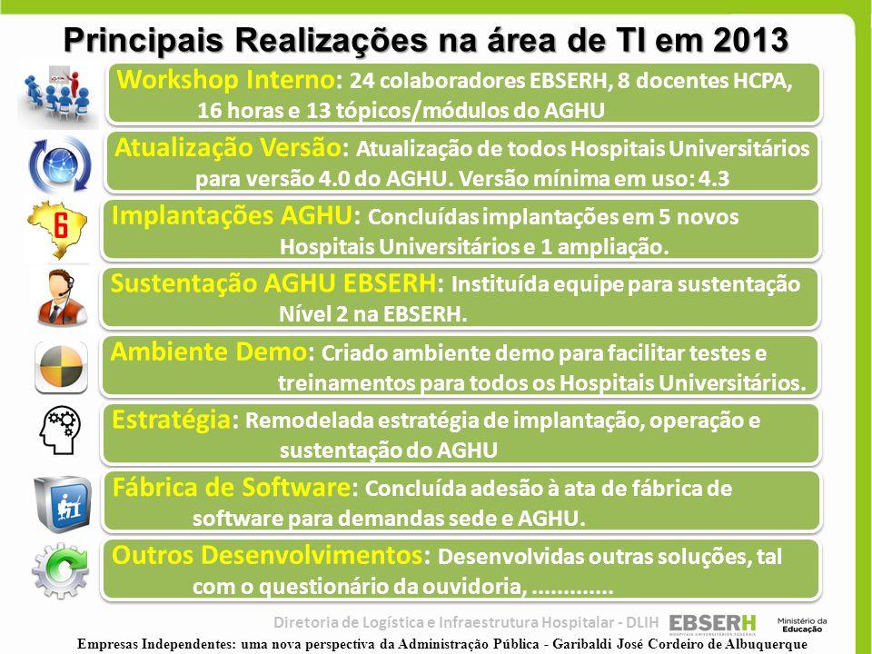 Principais Realizações na área de TI em 2013
