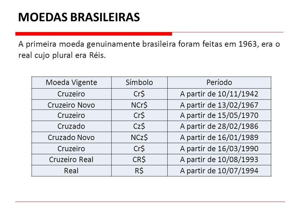 MOEDAS BRASILEIRAS A primeira moeda genuinamente brasileira foram feitas em 1963, era o real cujo plural era Réis.
