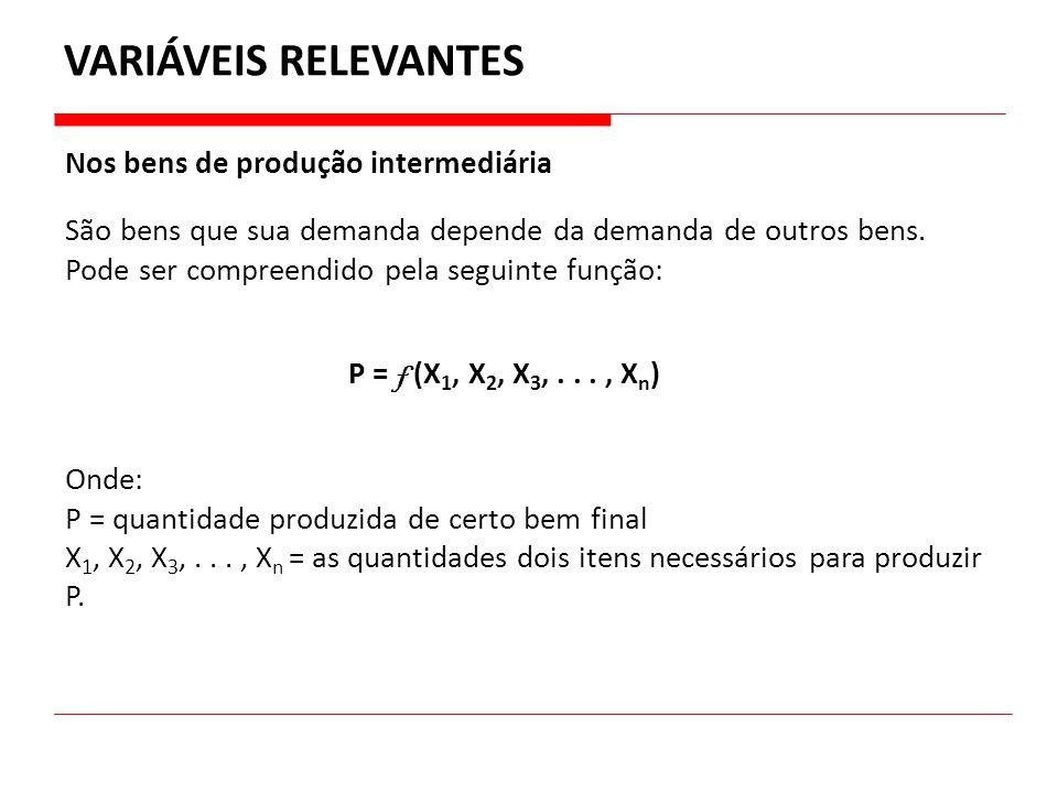 VARIÁVEIS RELEVANTES Nos bens de produção intermediária