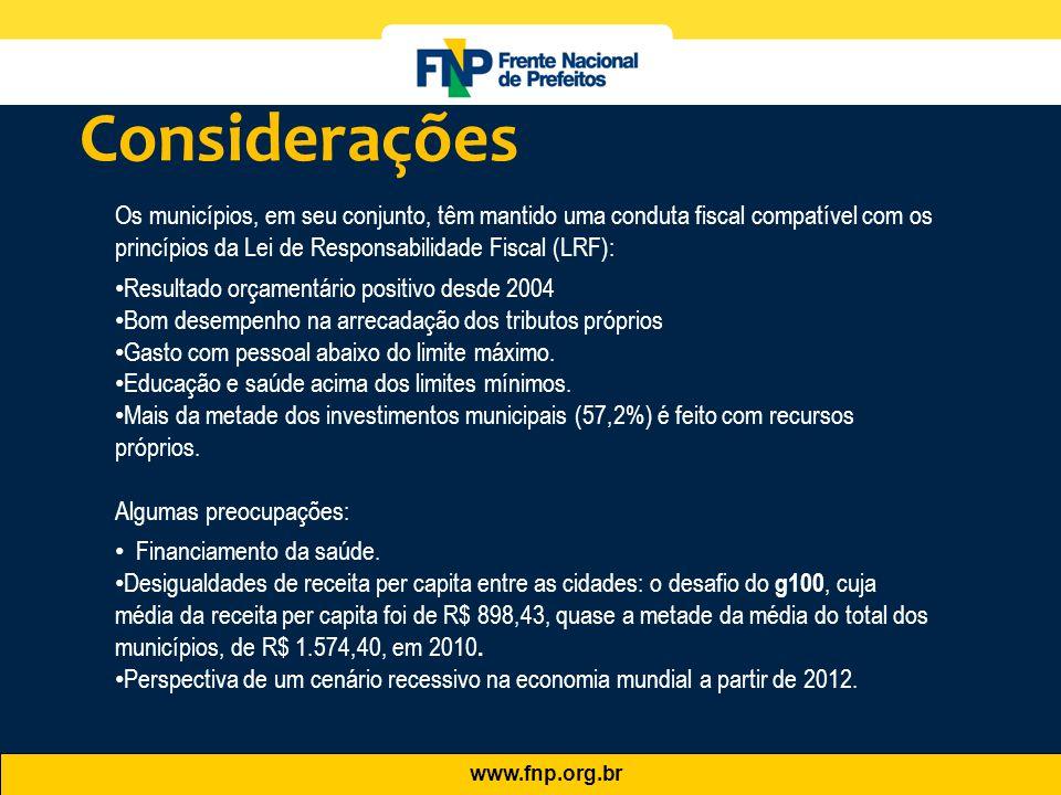 Considerações Os municípios, em seu conjunto, têm mantido uma conduta fiscal compatível com os princípios da Lei de Responsabilidade Fiscal (LRF):