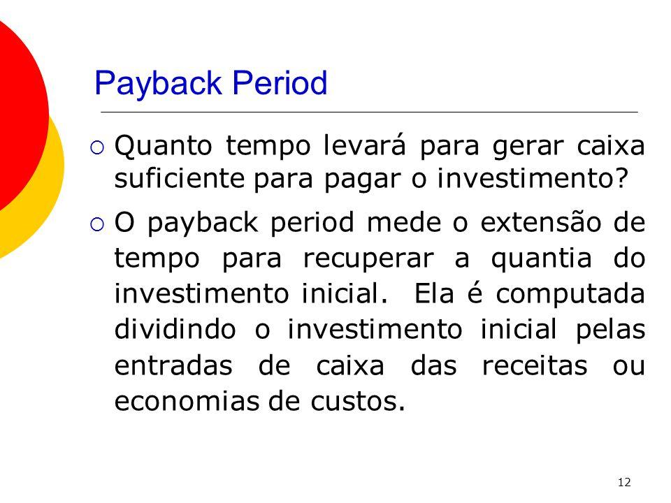 Payback Period Quanto tempo levará para gerar caixa suficiente para pagar o investimento