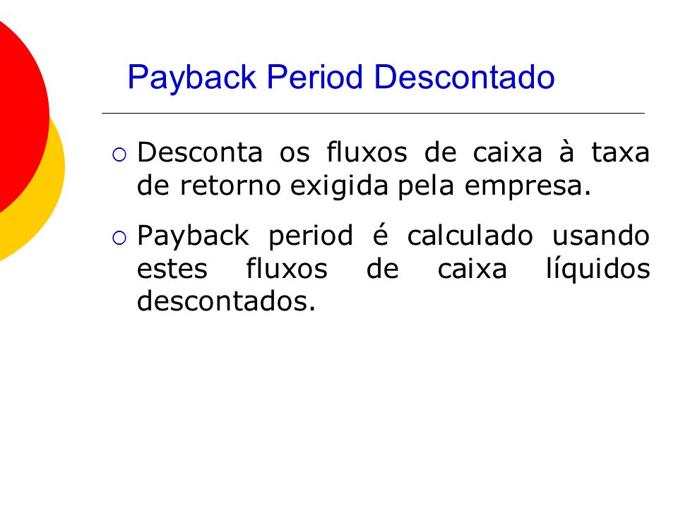 Payback Period Descontado