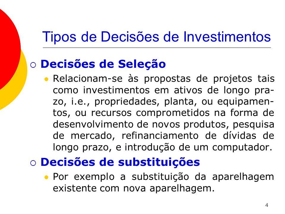Tipos de Decisões de Investimentos