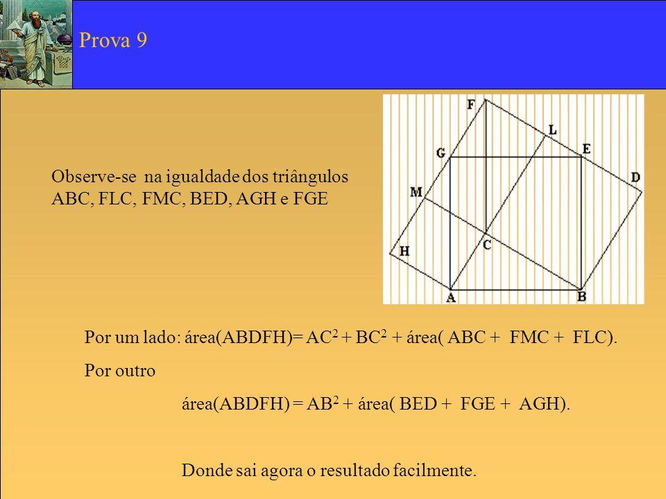 Prova 9 Observe-se na igualdade dos triângulos ABC, FLC, FMC, BED, AGH e FGE. Por um lado: área(ABDFH)= AC2 + BC2 + área( ABC + FMC + FLC).