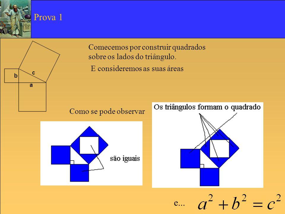 Prova 1 Comecemos por construir quadrados sobre os lados do triângulo. E consideremos as suas áreas.