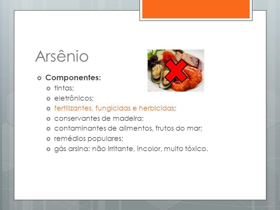Arsênio Componentes: tintas; eletrônicos;