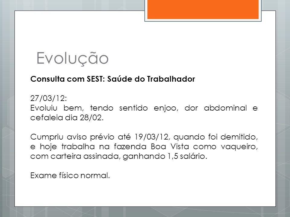 Evolução Consulta com SEST: Saúde do Trabalhador 27/03/12: