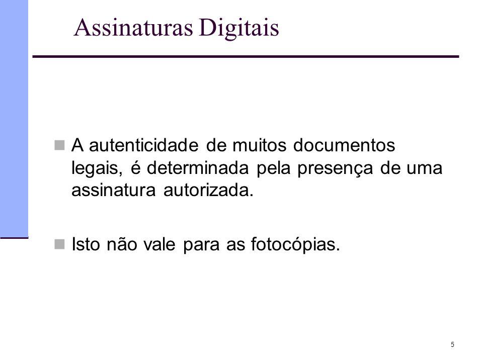 Assinaturas Digitais A autenticidade de muitos documentos legais, é determinada pela presença de uma assinatura autorizada.