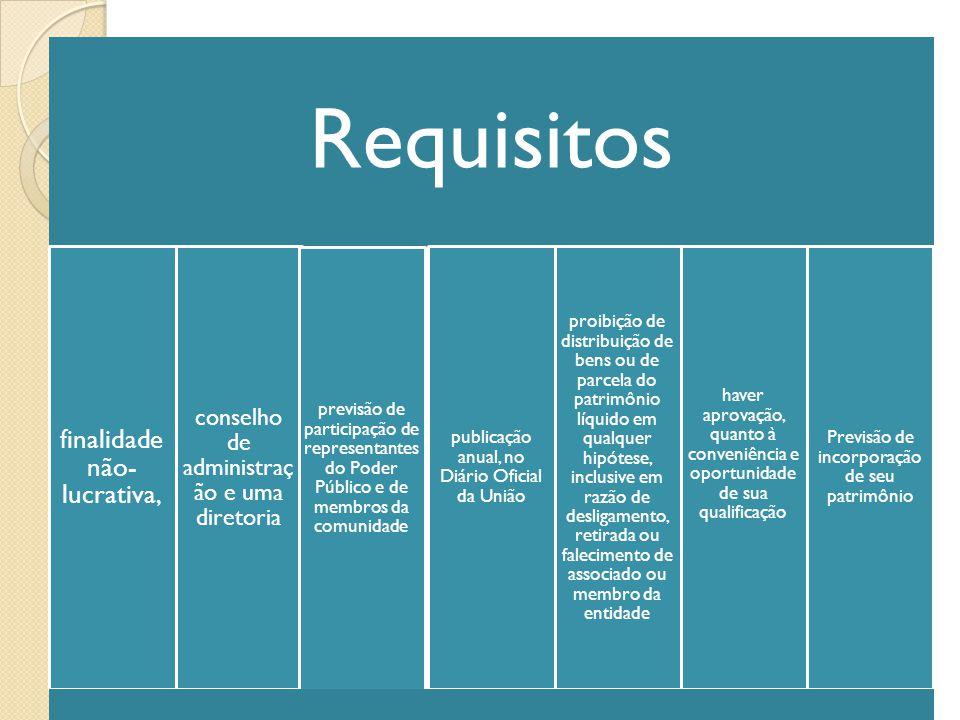 Organizações Sociais Requisitos finalidade não-lucrativa,