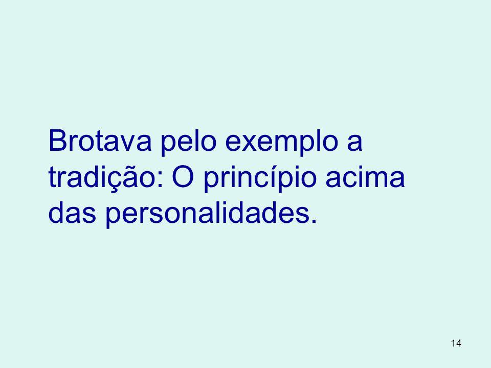 Brotava pelo exemplo a tradição: O princípio acima das personalidades.