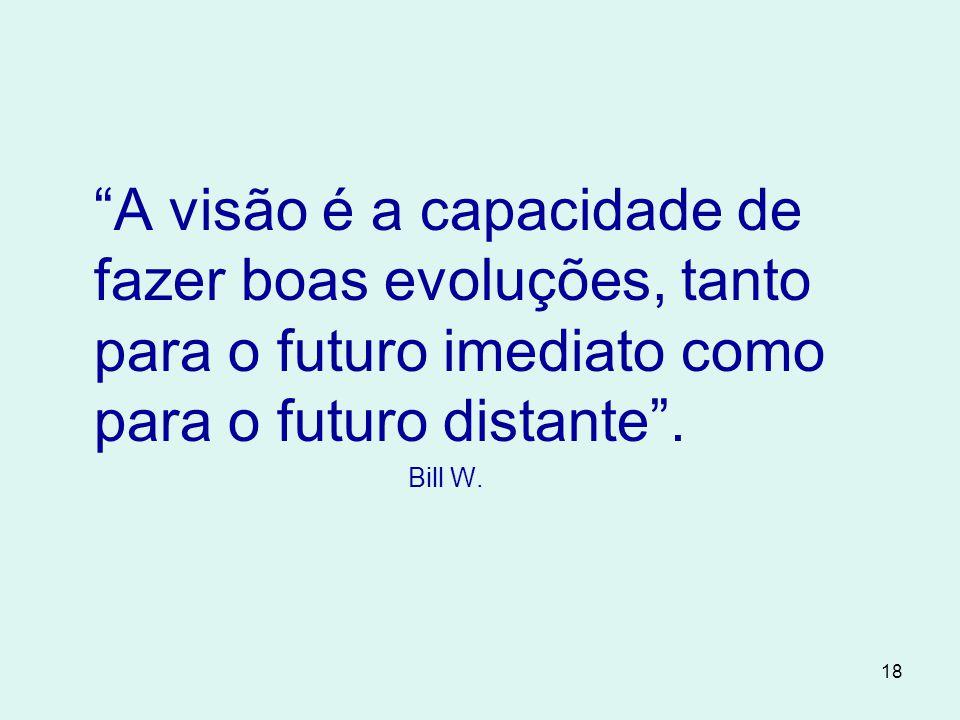 A visão é a capacidade de fazer boas evoluções, tanto para o futuro imediato como para o futuro distante .
