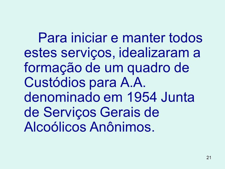 Para iniciar e manter todos estes serviços, idealizaram a formação de um quadro de Custódios para A.A.