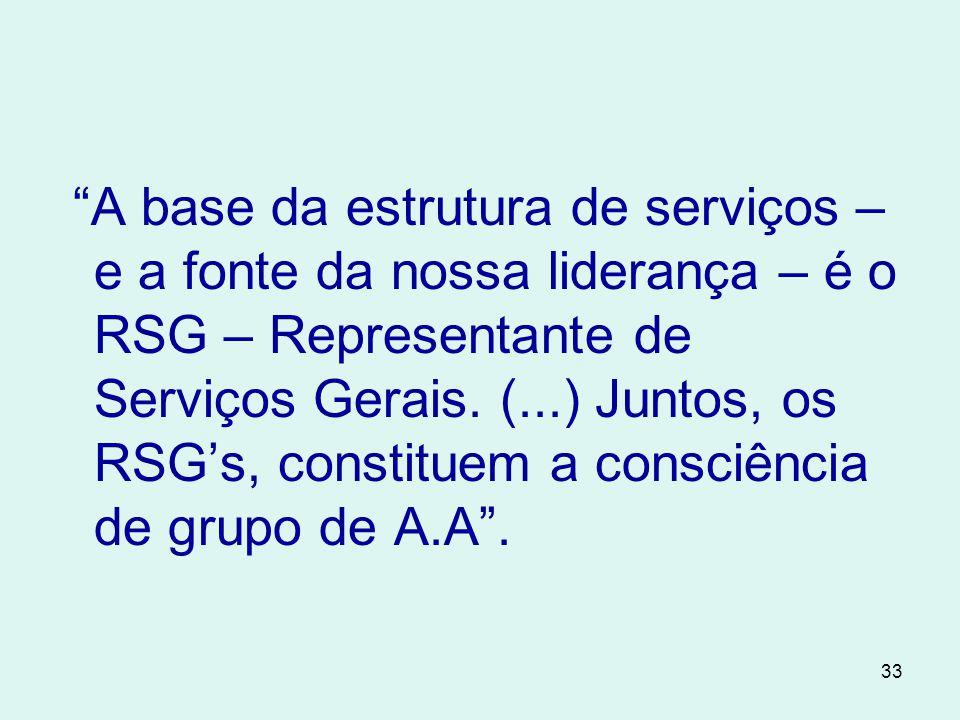 A base da estrutura de serviços – e a fonte da nossa liderança – é o RSG – Representante de Serviços Gerais.