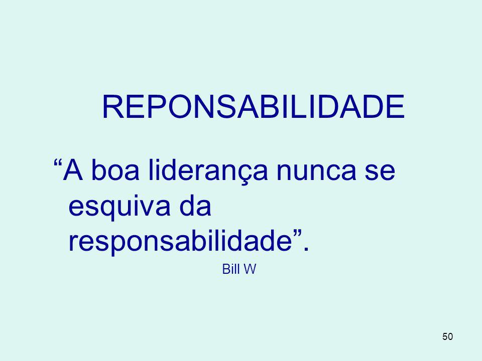 REPONSABILIDADE A boa liderança nunca se esquiva da responsabilidade . Bill W