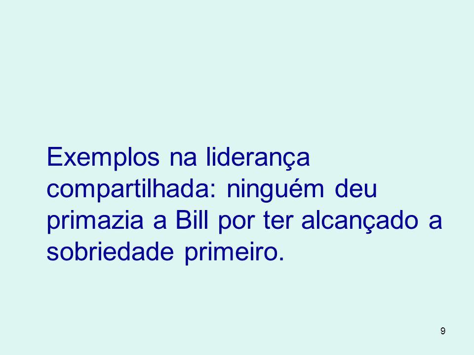 Exemplos na liderança compartilhada: ninguém deu primazia a Bill por ter alcançado a sobriedade primeiro.