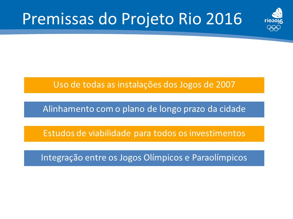 Premissas do Projeto Rio 2016