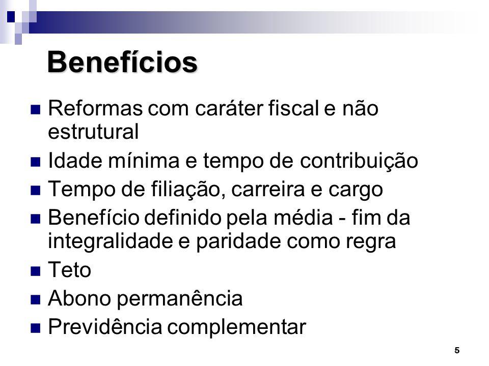 Benefícios Reformas com caráter fiscal e não estrutural