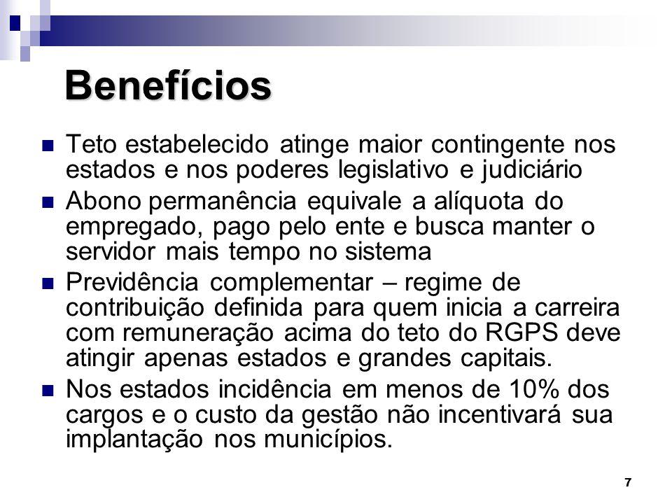 Benefícios Teto estabelecido atinge maior contingente nos estados e nos poderes legislativo e judiciário.