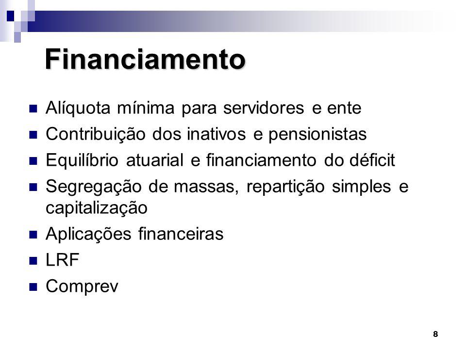 Financiamento Alíquota mínima para servidores e ente