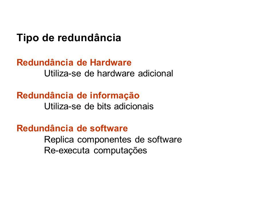 Tipo de redundância Redundância de Hardware