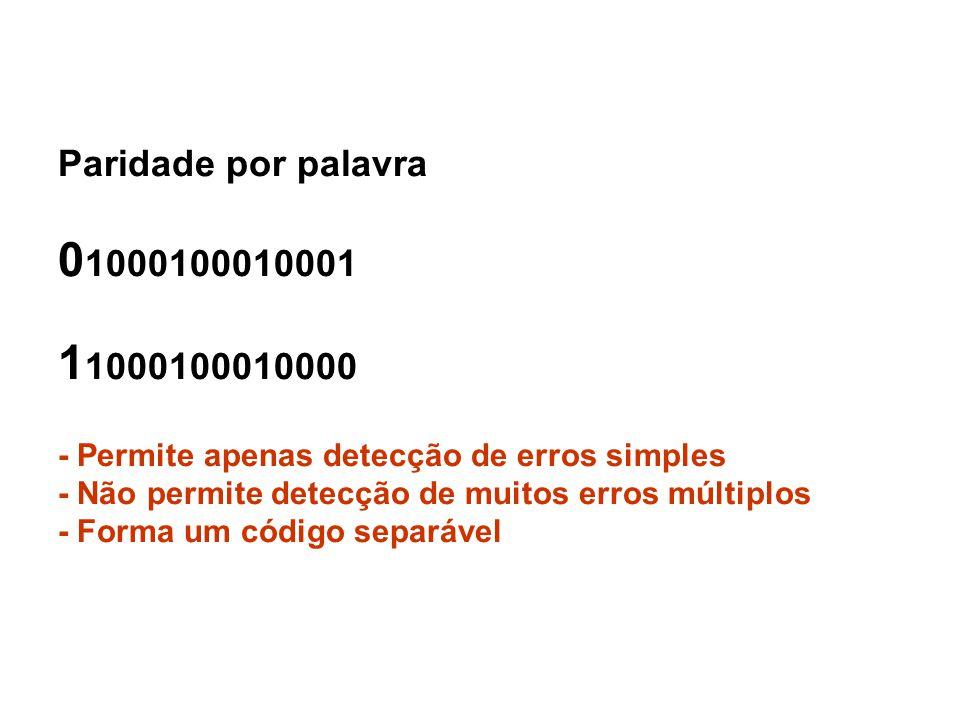 Paridade por palavra 01000100010001 11000100010000 - Permite apenas detecção de erros simples - Não permite detecção de muitos erros múltiplos - Forma um código separável