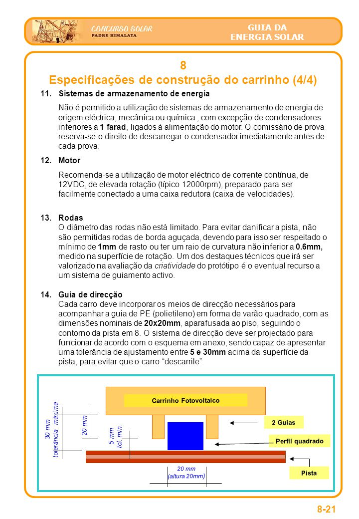 Especificações de construção do carrinho (4/4) Carrinho Fotovoltaico