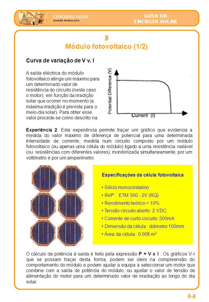 Módulo fotovoltaico (1/2) Especificações da célula fotovoltaica