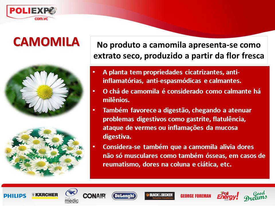 CAMOMILA No produto a camomila apresenta-se como extrato seco, produzido a partir da flor fresca.
