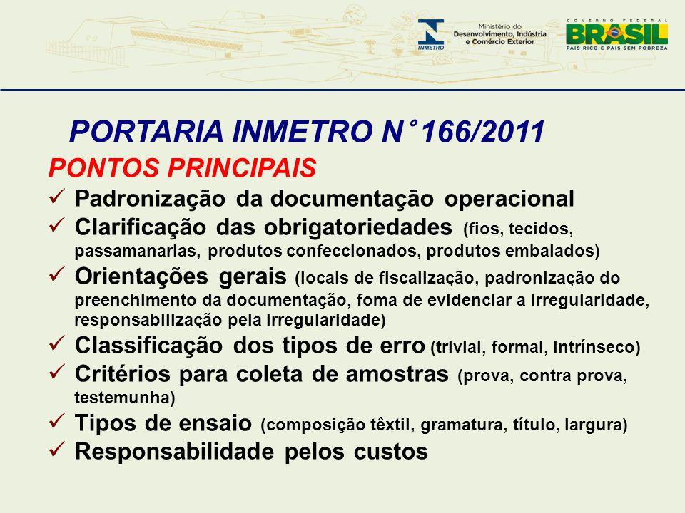 PORTARIA INMETRO N° 166/2011 PONTOS PRINCIPAIS