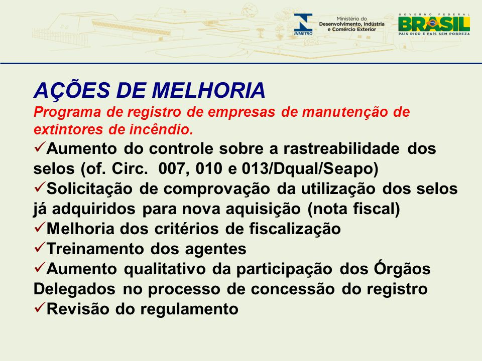AÇÕES DE MELHORIA Programa de registro de empresas de manutenção de extintores de incêndio.