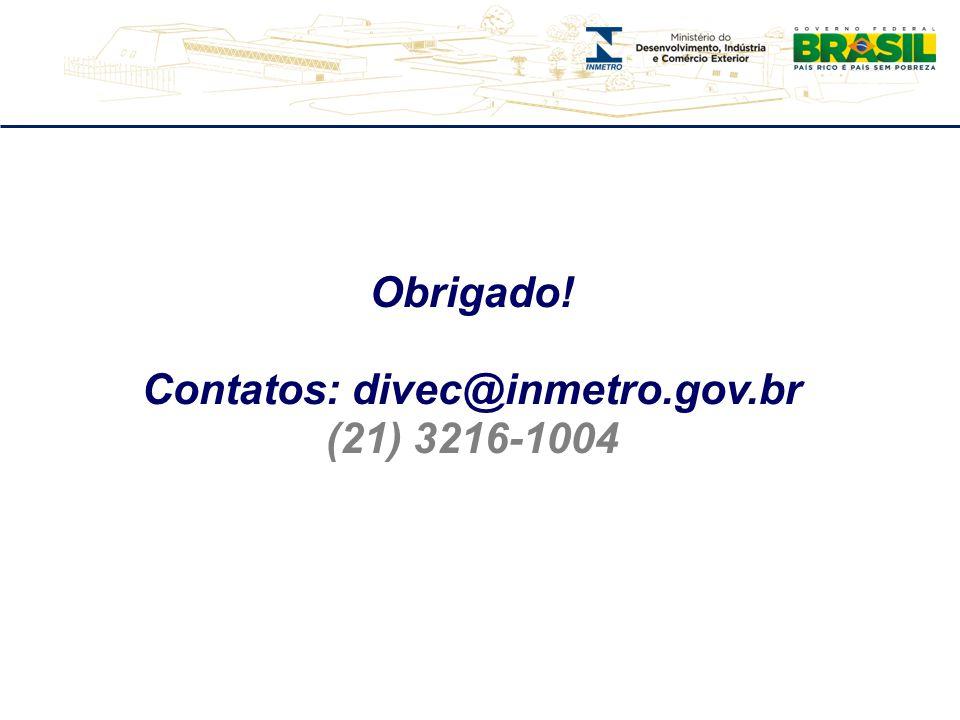 Contatos: divec@inmetro.gov.br