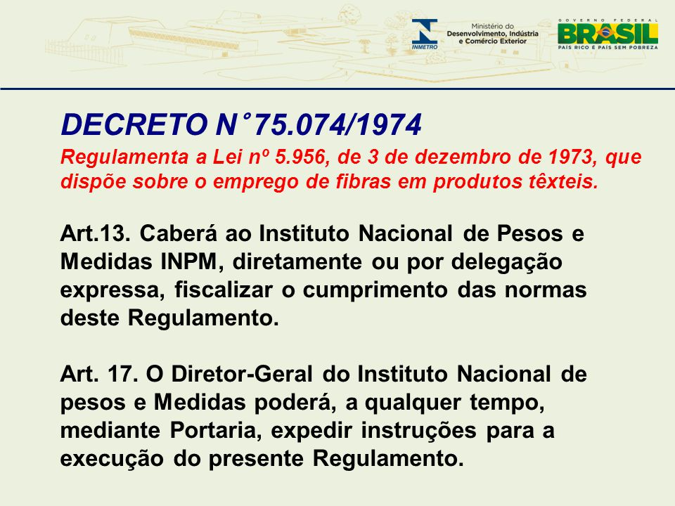 DECRETO N° 75.074/1974 Regulamenta a Lei nº 5.956, de 3 de dezembro de 1973, que dispõe sobre o emprego de fibras em produtos têxteis.