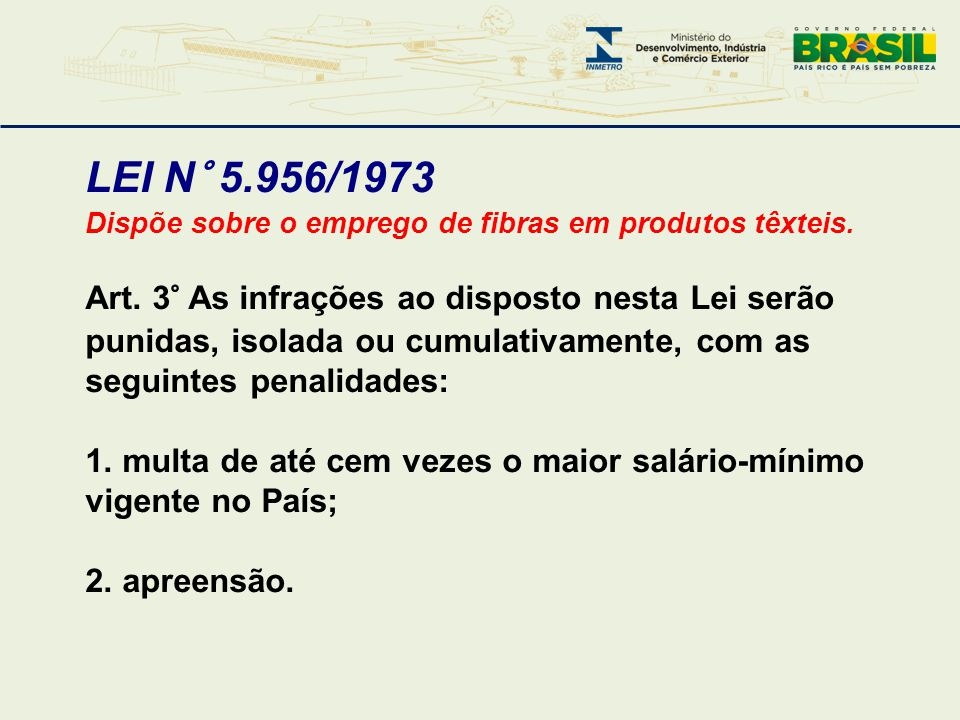 LEI N° 5.956/1973 Dispõe sobre o emprego de fibras em produtos têxteis.