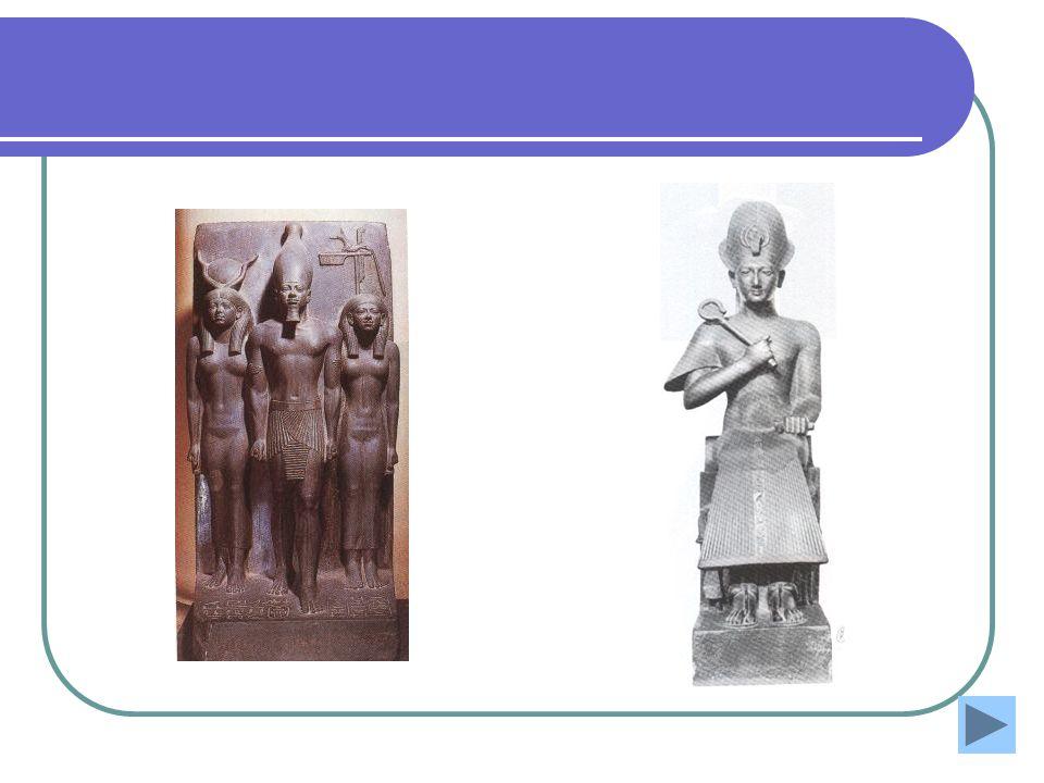 Fig1. Grupo escultórico mostrando miquerinos representação canónica do Império antigo; xisto verde com 98 cm.