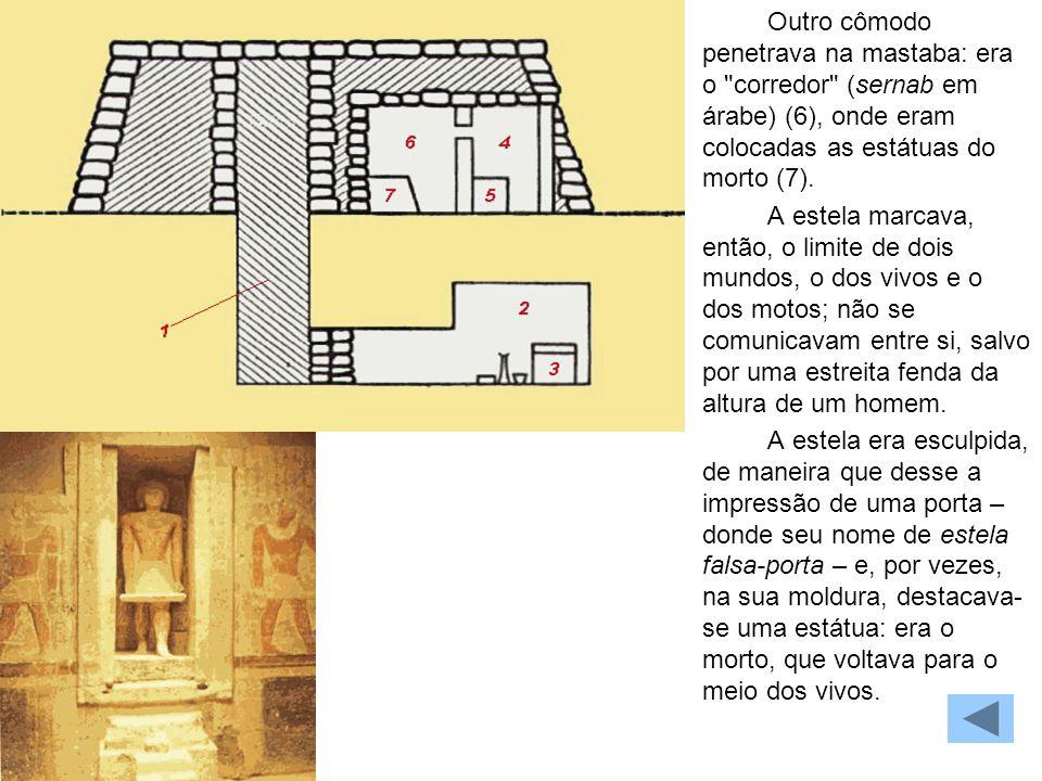 MASTABA Outro cômodo penetrava na mastaba: era o corredor (sernab em árabe) (6), onde eram colocadas as estátuas do morto (7).