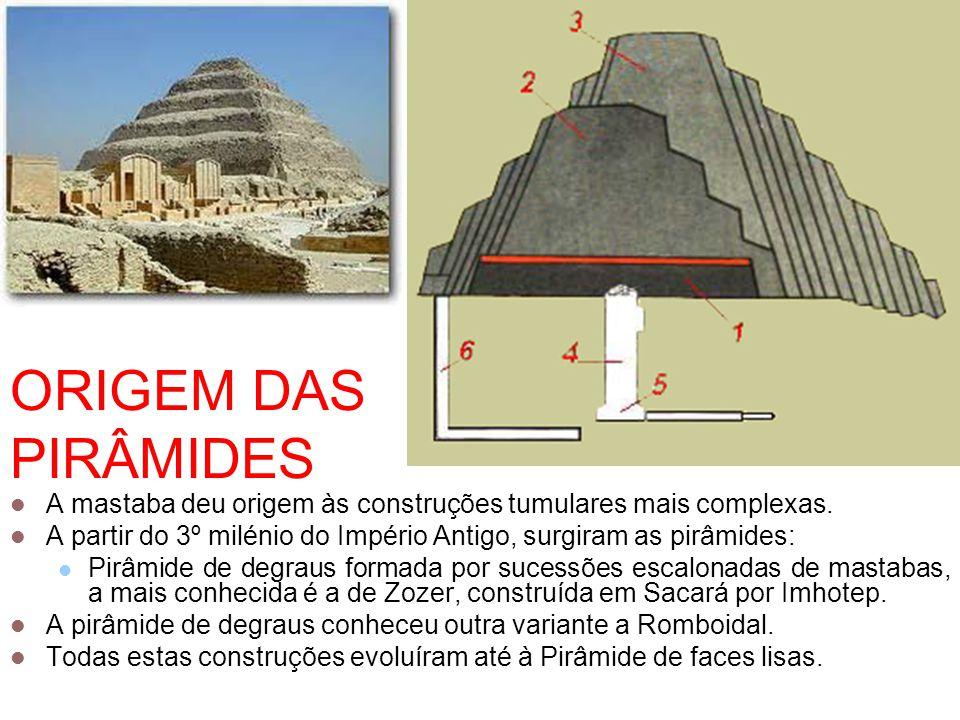 ORIGEM DAS PIRÂMIDES A mastaba deu origem às construções tumulares mais complexas. A partir do 3º milénio do Império Antigo, surgiram as pirâmides: