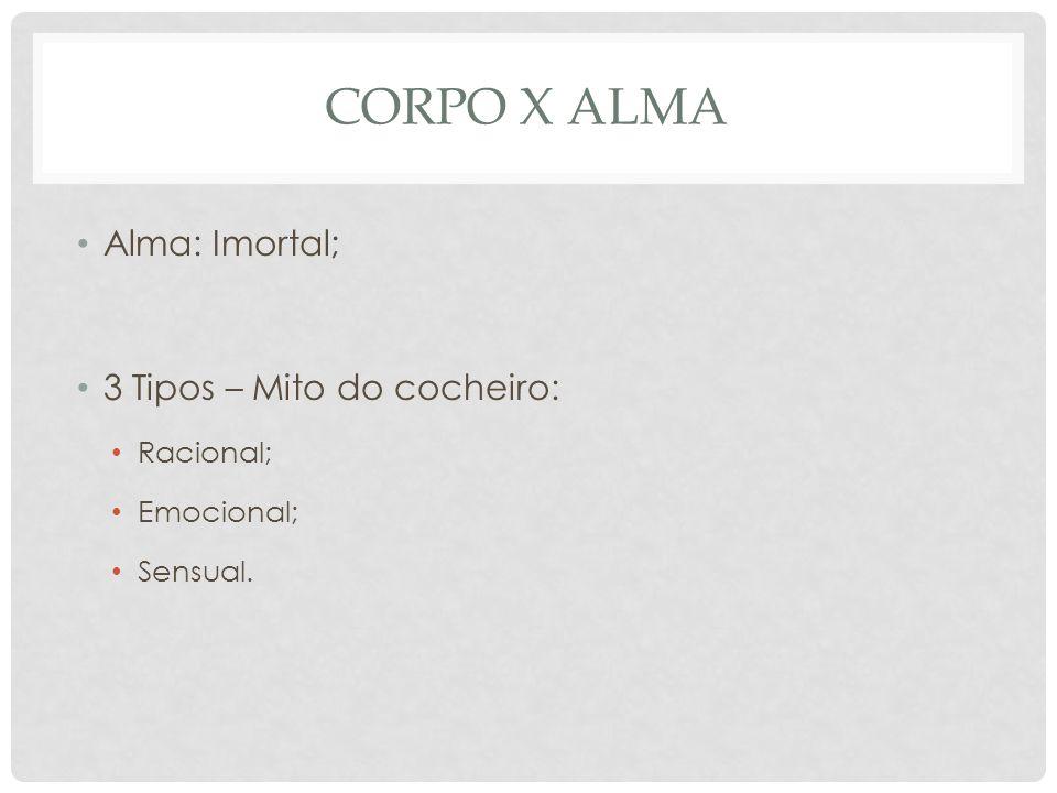 CORPO X ALMA Alma: Imortal; 3 Tipos – Mito do cocheiro: Racional;