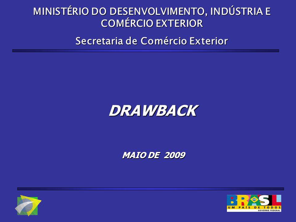 DRAWBACK MINISTÉRIO DO DESENVOLVIMENTO, INDÚSTRIA E COMÉRCIO EXTERIOR