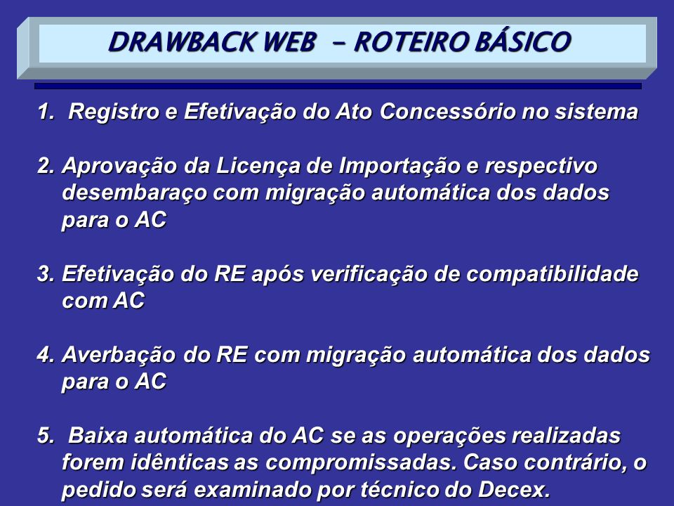 DRAWBACK WEB - ROTEIRO BÁSICO