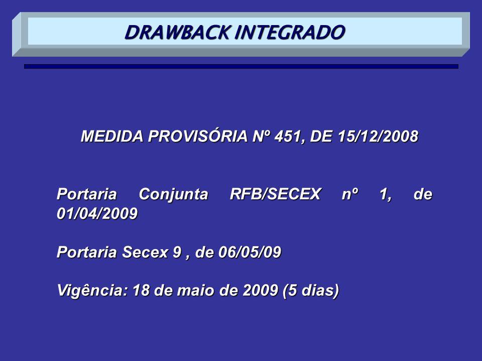 DRAWBACK INTEGRADO MEDIDA PROVISÓRIA Nº 451, DE 15/12/2008