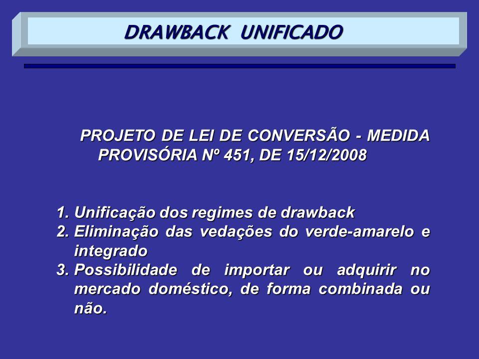DRAWBACK UNIFICADO PROJETO DE LEI DE CONVERSÃO - MEDIDA PROVISÓRIA Nº 451, DE 15/12/2008. Unificação dos regimes de drawback.