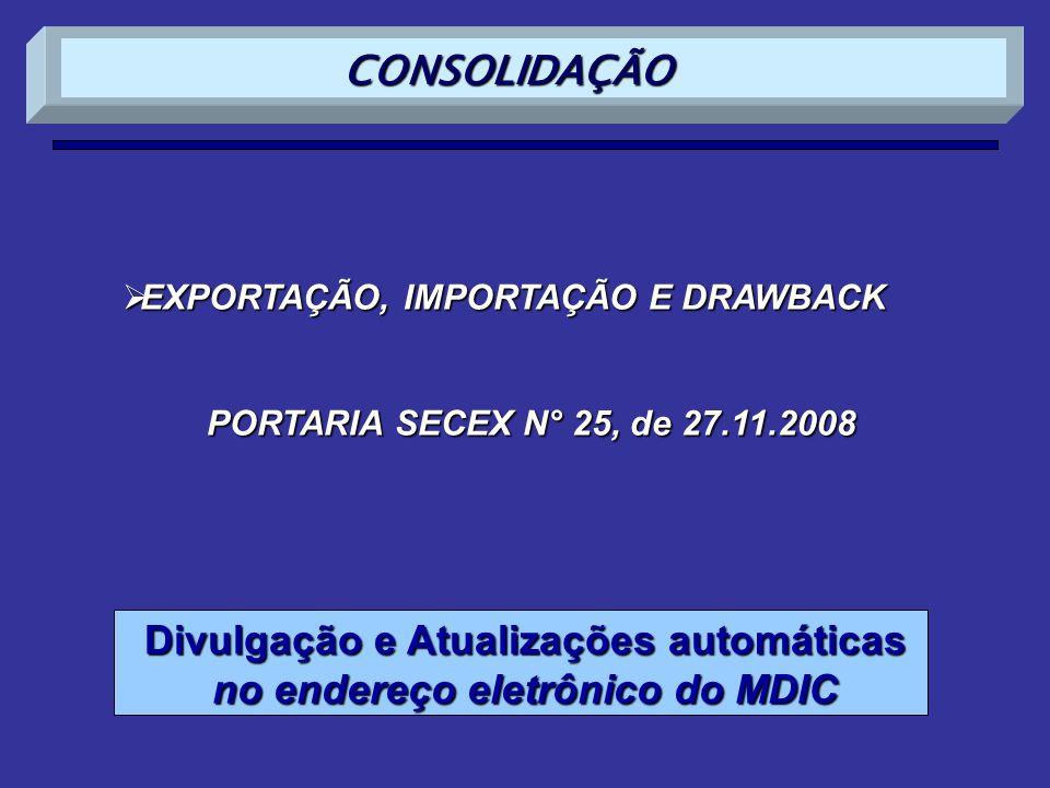 Divulgação e Atualizações automáticas no endereço eletrônico do MDIC