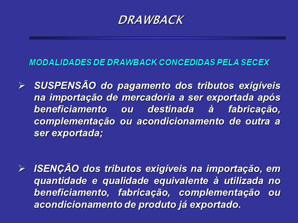 MODALIDADES DE DRAWBACK CONCEDIDAS PELA SECEX