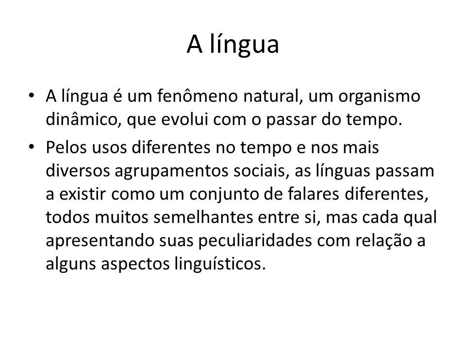 A língua A língua é um fenômeno natural, um organismo dinâmico, que evolui com o passar do tempo.